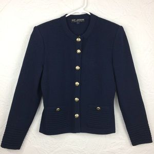 NWOT St.John's basics navy blue knit button blazer